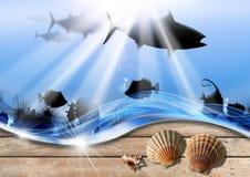 Feiertags-Seeabgrund-Hintergrund vektor abbildung