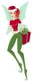 Feiertags-u. Magie-Weihnachten. Abbildung des netten jugendlich Mädchenelfs mit Geschenkbox auf Weiß Lizenzfreies Stockbild