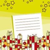 Feiertags-Wünsche mit Geschenk-Abbildung Stockfotos
