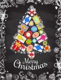 Feiertags-Weihnachts- und des neuen Jahreskartenschablone Vektorplakat mit Hand gezeichneten Symbolen Geschenkboxform Weihnachtsb Lizenzfreie Stockbilder
