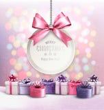 Feiertags-Weihnachtshintergrund mit dem Erhalten der Karte stock abbildung