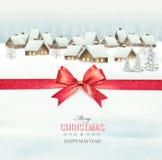 Feiertags-Weihnachtshintergrund mit einem Dorf lizenzfreie abbildung