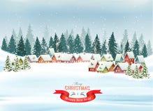 Feiertags-Weihnachtshintergrund mit einem Dorf und Bäumen stock abbildung