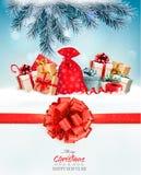 Feiertags-Weihnachtshintergrund mit einem Sack voll von den Geschenkboxen lizenzfreie abbildung
