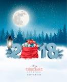 Feiertags-Weihnachtshintergrund mit Sack lizenzfreie abbildung