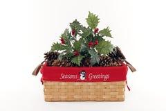 Feiertags-Weihnachtskorb Stockbilder