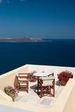 Feiertagsansicht vom Balkon Stockbild