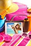 Feiertagsbilder auf Tablette Lizenzfreies Stockfoto