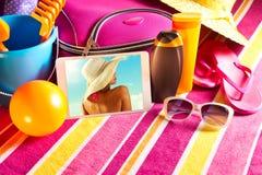 Feiertagsbilder auf Tablette Lizenzfreie Stockfotografie