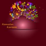 Feiertagsburgunder-Hintergrundkarte für heiligen Monat des moslemischen commun Lizenzfreies Stockbild