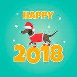 Feiertagsdachshund Vervollkommnen Sie für das Jahr von Hund 2018 Hintergrund des neuen Jahres Stockfotografie