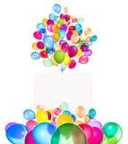 Feiertagsfahnen mit bunten Ballonen Stockbilder