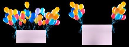 Feiertagsfahnen mit bunten Ballonen Stockfotografie