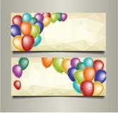 Feiertagsfahnen mit bunten Dreieckballonen Stockbild