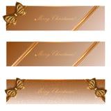 Feiertagsfahnen mit Goldbändern, der Vektor ENV 10 Lizenzfreies Stockbild