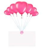 Feiertagsfahnen mit Valentinsgrußballonen Lizenzfreie Stockfotografie