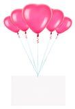 Feiertagsfahnen mit Valentinsgrußballonen Stockbilder