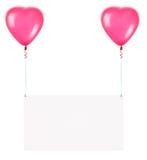 Feiertagsfahnen mit Valentinsgrußballonen Lizenzfreies Stockfoto