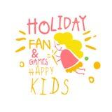 Feiertagsfan und glücklicher Promo Kinder der Spiele unterzeichnen Gezeichnete Illustration Vektor der Kinderparty bunte Hand Stockfotos