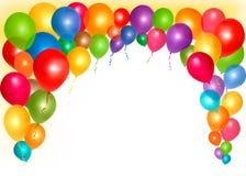 Feiertagsfeld mit bunten Ballonen Stockbild