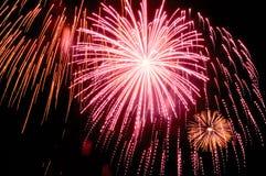 Feiertagsfeuerwerk gegen den nächtlichen Himmel Lizenzfreies Stockfoto