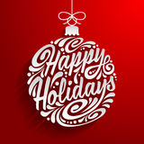 Feiertagsgrußkarte mit abstraktem Gekritzel Weihnachtsball Stockfotos