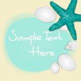 Feiertagsgrußkarte mit Oberteilen und Starfishes und Platz für Text. Stockbild