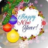 Feiertagsgrußkarte mit Weihnachtsflitter und künstlerischem schriftlicher Text ` guten Rutsch ins Neue Jahr! ` Stockbild