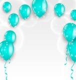 Feiertagshintergrund mit blauen Ballonen Lizenzfreies Stockfoto