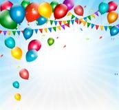 Feiertagshintergrund mit bunten Ballonen und Flagge Stockfotos