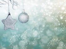 Feiertagshintergrund mit funkelnden Lichtern und Weihnachten-decoratio Lizenzfreie Stockfotografie