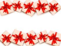 Feiertagshintergrund mit Geschenkboxen Lizenzfreies Stockbild