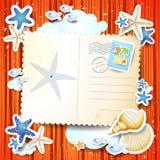 Feiertagshintergrund mit Postkarte Stockfotografie