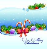 Feiertagshintergrund mit Süßigkeit und Schneeflocke Stockfoto