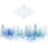 Feiertagshintergrund mit Schneelandschaft Stockbild
