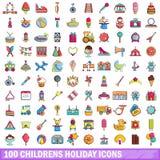 100 Feiertagsikonen der Kinder eingestellt, Karikaturart Lizenzfreies Stockbild
