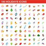 100 Feiertagsikonen eingestellt, isometrische Art 3d vektor abbildung