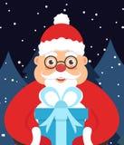 Feiertagsillustrations-Grußkarte für neues Jahr oder Weihnachten Santa Claus in der Nacht in den Händen mit einem Geschenk Vektor Stockbild
