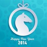 Feiertagskarte für Jahr des Pferds. Lizenzfreie Abbildung