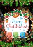 Feiertagskarte mit Kiefer verzweigt sich, Weihnachtsgirlande, brennende Kerzen vektor abbildung