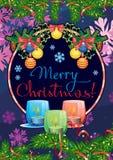 Feiertagskarte mit Kiefer verzweigt sich, Weihnachtsgirlande, brennende Kerzen stock abbildung