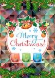 Feiertagskarte mit Kiefernniederlassungen, Weihnachtsgirlande, brennende Kerzen und Feiertagsgruß simsen ` frohe Weihnachten! ` stock abbildung