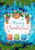 Feiertagskarte mit Kiefernniederlassungen, Weihnachtsgirlande, brennende Kerzen und Feiertagsgruß simsen ` frohe Weihnachten! ` vektor abbildung