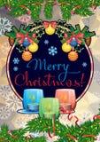 Feiertagskarte mit Kiefernniederlassungen, Weihnachtsgirlande, brennende Kerzen und Feiertagsgruß simsen ` frohe Weihnachten! ` lizenzfreie abbildung