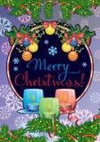 Feiertagskarte mit Kiefernniederlassungen, Weihnachtsgirlande, brennenden Kerzen und Feiertag vektor abbildung