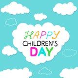 Feiertagskarte mit lustiger Karikatur bewölkt sich an einem Tag Blauhintergrund Kinder auf Juni 1. Lizenzfreie Stockfotos
