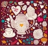 Feiertagskarte mit Teekanne Stockfoto