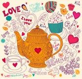 Feiertagskarte mit Teekanne Lizenzfreie Stockfotos