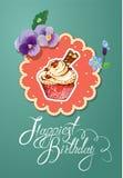 Feiertagskarte mit verziertem süßem kleinem Kuchen, flovers Lizenzfreies Stockbild