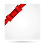 Feiertagskarte, Weihnachtskarte, Glückwunschkarte, Schablone des Gutscheins (Grußkarte) Roter Bogen auf dem Eck (Bänder, anwesend Stockfoto